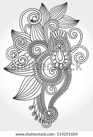 Black And White Original Hand Draw Line Art Ornate Flower Design. Ukrainian  Traditional Style.