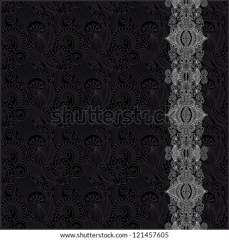 black and white ornate floral background with ornament stripe, raster version