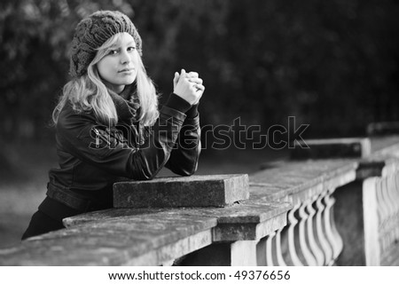 Black and White Outdoor Winter Fashion Portrait - stock photo