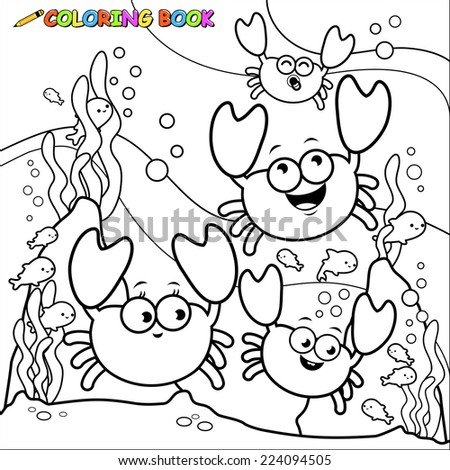 Black and white outline image of crabs underwater. Coloring book page.