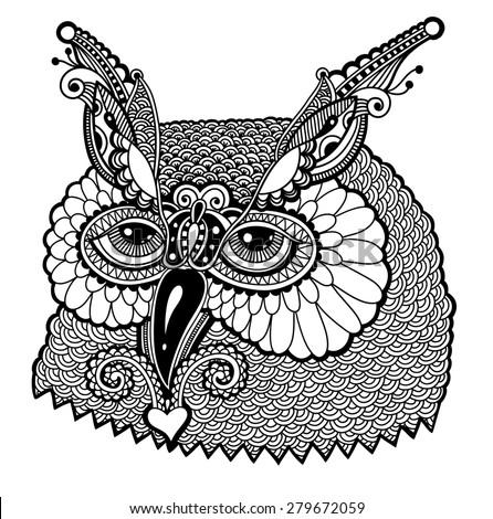 black and white owl head, graphic  raster version  illustration - stock photo