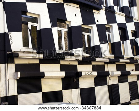 Black and white painted house in Brussels, Belgium