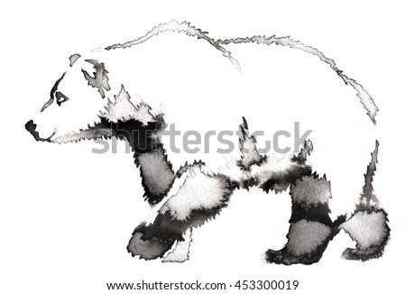 black and white painting with water and ink draw bear illustration - stock photo