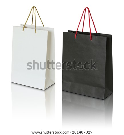 black and white paper bag on white background - stock photo