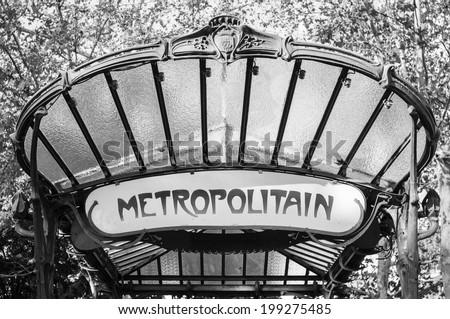 Black and white Paris: Paris metro (subway) sign, art nouveau style - stock photo