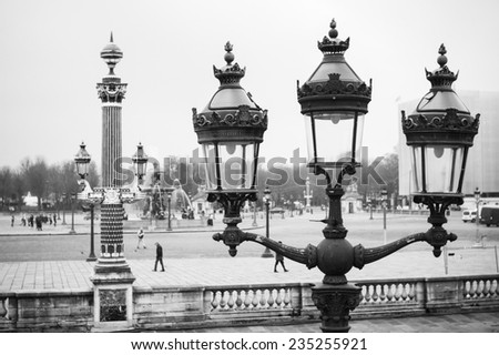Black and White Paris: Street Lamps on the Concorde Square - stock photo