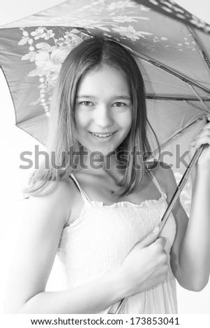 black and white pastel girl with umbrella - stock photo