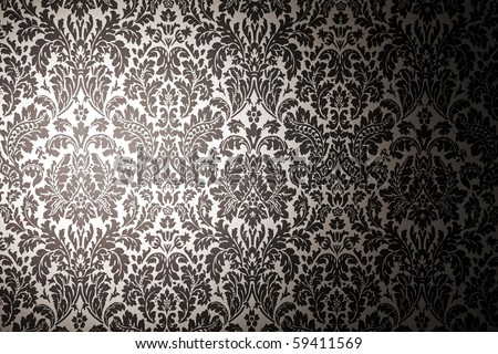 black and white pattern wallpaper. photography with a light stain. Vintage style - stock photo