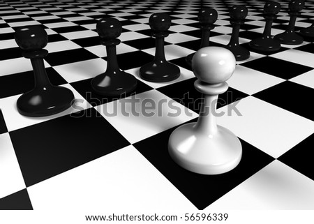 black and white pawns on a huge chessboard - stock photo