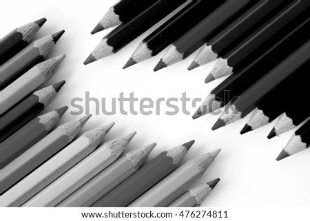 black and white pencils