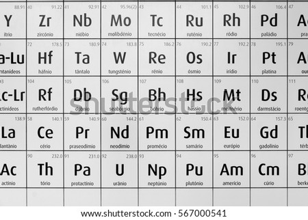 Black And White Periodic Table Of Chemical Elements, The Name Of Each  Element Is Written