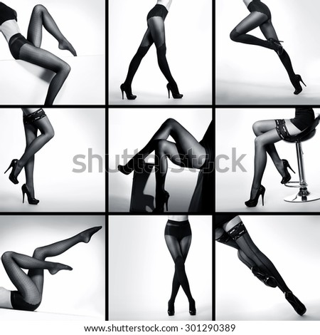 Black and white photo collection of the beautiful legs in nice stockings over white background - stock photo