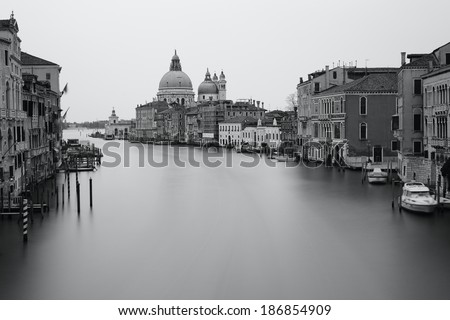 Black and white photo Grand canal, Venice, Italy - stock photo