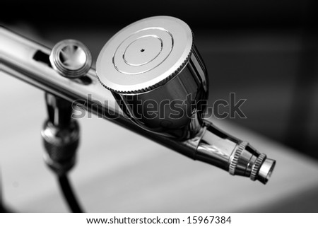 Black and white photo of a airbrush - stock photo