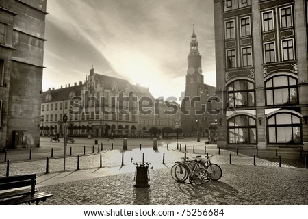 Black and white photo of a beautiful city - stock photo