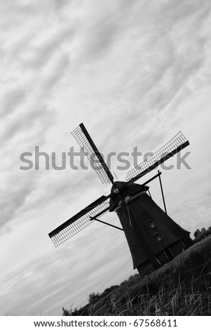 Black and white photo of a windmill