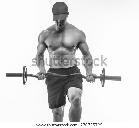 Black and white photo of bodybuilder in a cap with barbell. Isolated on white - stock photo