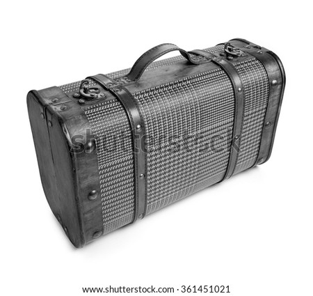 """Black and white photo of Classic suitcase. """"Belle Epoque"""" style. Clipping path - stock photo"""