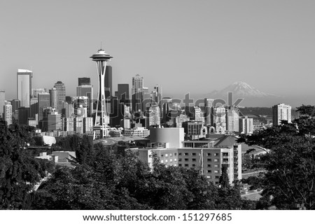 Black and white photo of downtown Seattle, USA - stock photo