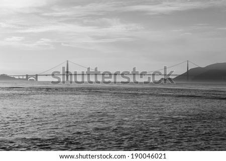 Black and white photo of Golden Gate Bridge in San Francisco. - stock photo