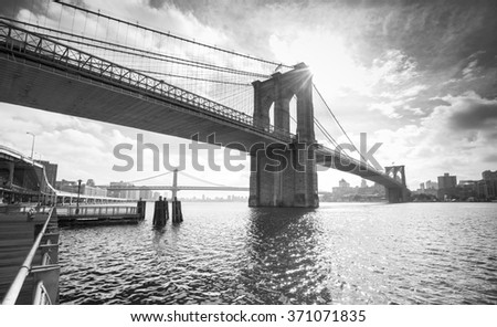 Black and white photo of Manhattan Bridge, NYC, USA. - stock photo
