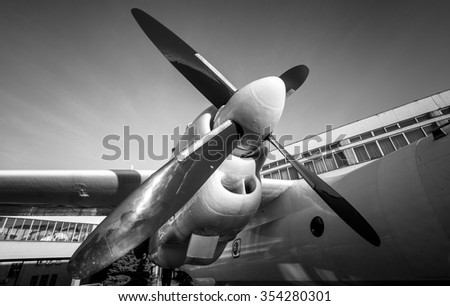 Black and white photo of old airplane engine - stock photo