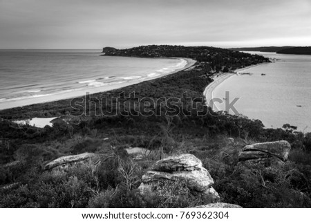 Black And White Photo Of Palm Beach At Sunset Sydney Australia