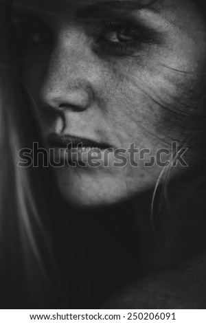 Black and white photo of sensual woman