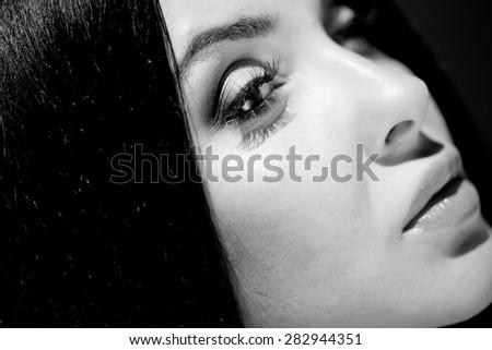Black and white photo of sensual woman - stock photo