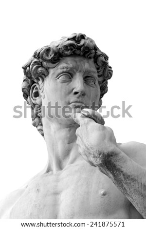 Black and White photo of  the David sculpture  by Michelangelo in Florence. Detail of the head on the white background. - stock photo
