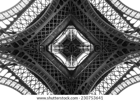 Black and white photo of the Eiffel Tower, Paris, France - stock photo