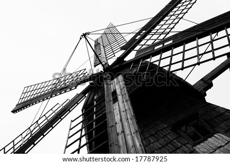 Black and white photo of the old windmill (Latvia) - stock photo