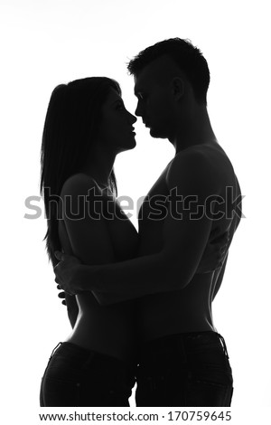 Black and white photo of young caucasian couple - stock photo