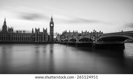 Black and white photograph of Big Ben. Big Ben is the nickname for the Great Bell of the clock also known as Clock Tower and Elizabeth Tower is one of the most prominent symbols of the United Kingdom. - stock photo