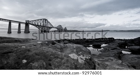 Black and white photograph of the Forth Rail Bridge - stock photo