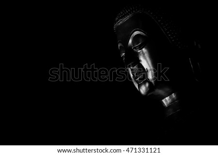 Black and white picture of buddha statue in Thai temple