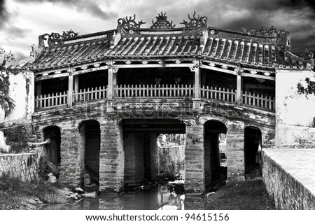 Black and white picture of Japanese Bridge in Hoi An, Vietnam