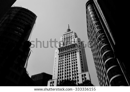 Black and white picture of old Banespa building in Sao Paulo, Brazil.  - stock photo