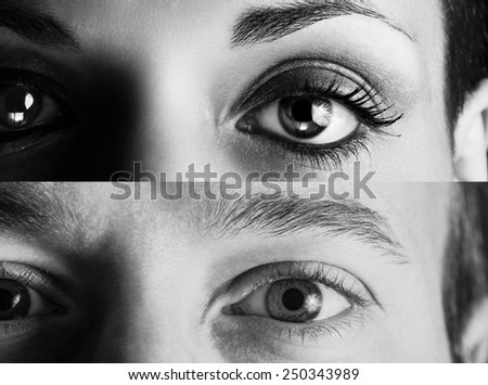 Black and white picture with a couple gaze. - stock photo