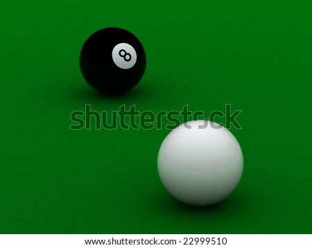 black and white pool balls high quality on green