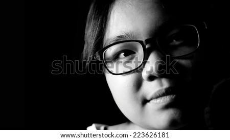black and white portrait girl  - stock photo