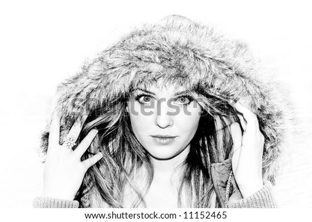 black and white portrait of a beautiful fashion model - stock photo