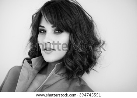 Black and white portrait of a gorgeous woman - stock photo