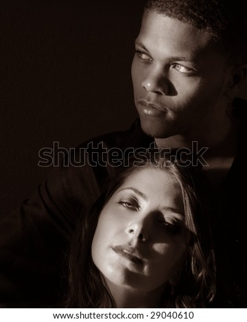 Black and white portrait of a man and woman