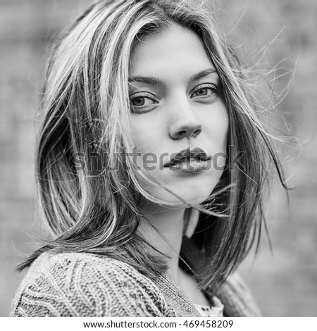 Black and white portrait of beautiful girl