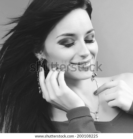 black and white portrait of beautiful sexy girl with accessory
