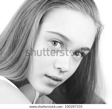 Black and white portrait of beautiful young woman - stock photo