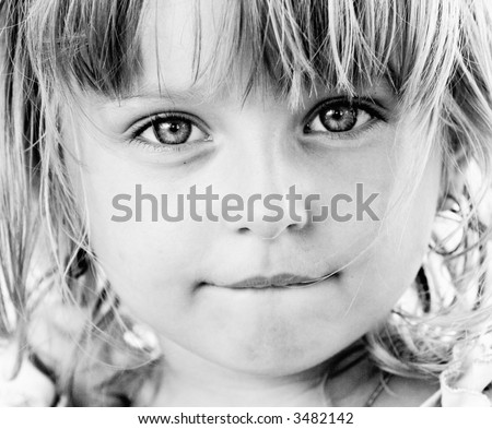 black and white portrait of cute girl - stock photo