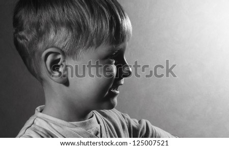 black and white portrait of cute little boy - stock photo
