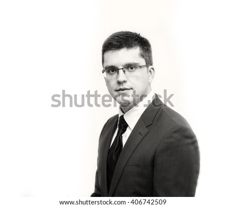 Black and white portrait of European businessman.